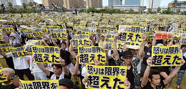 Okinawans Protesting US Military Bases
