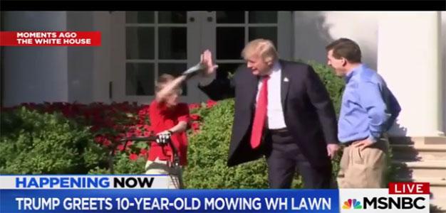 "10-Year-Old-Budding-Entrepreneur ""Frank"" Mows WH Lawn…High Fives the Prez…"