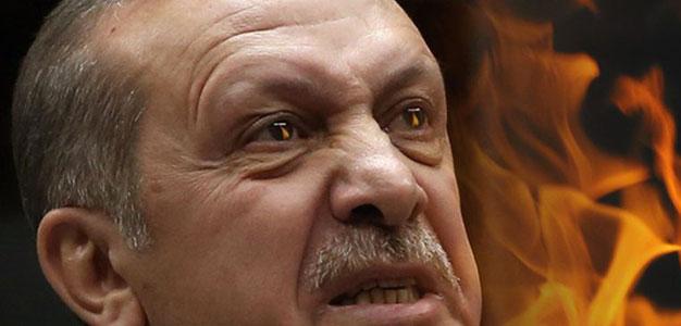 Turkey's President Recep Erdogan with Fiery Eyes